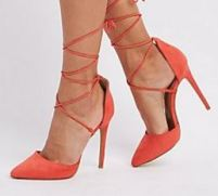 Lace Up Pointed Toe Pump- Orange
