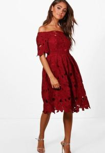 BooHoo- Boutique Lisa Skater Dress- Red- $28.00