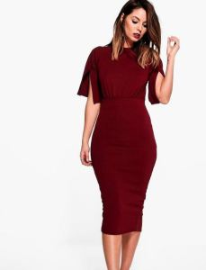 BooHoo- Cesca Split Midi Dress- Red- $18.00