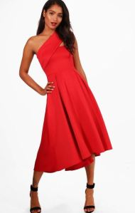 BooHoo- Lola Midi Skater Dress- Red $23.00