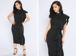 Fashion Nova- Break Through Ruffle Dress-Black 45
