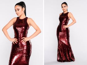 Fashion Nova- Grandeur Sequin Dress- Burgundy 65